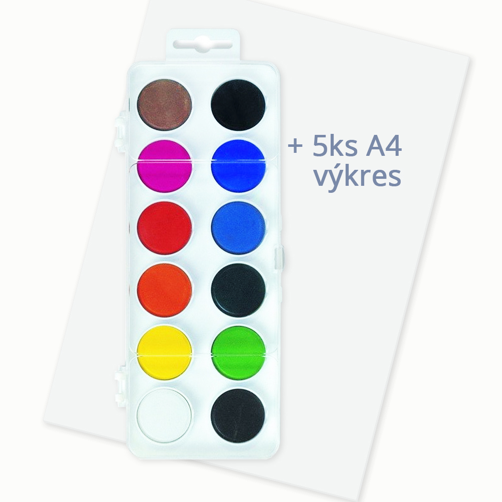 Vodové farby 12 ks + výkres A4 5ks