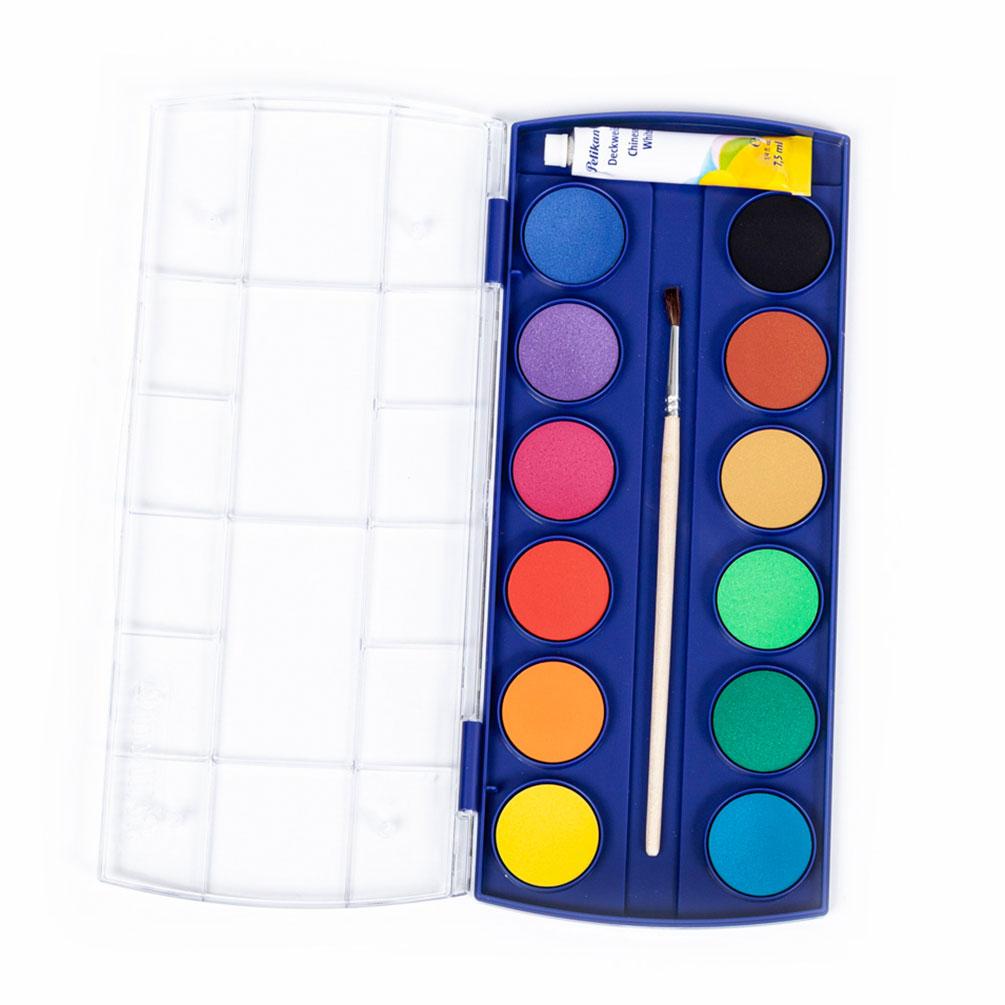 Vodové farby Pelikan so štetcom a belobou, 12 farieb