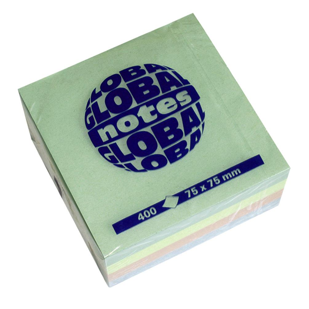 Samolepiaci blok 75x75mm, 4 pastel farby
