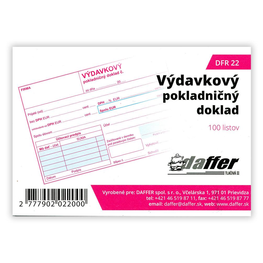 Výdavkový pokladničný doklad oslobodené od DPH + 1xDPH