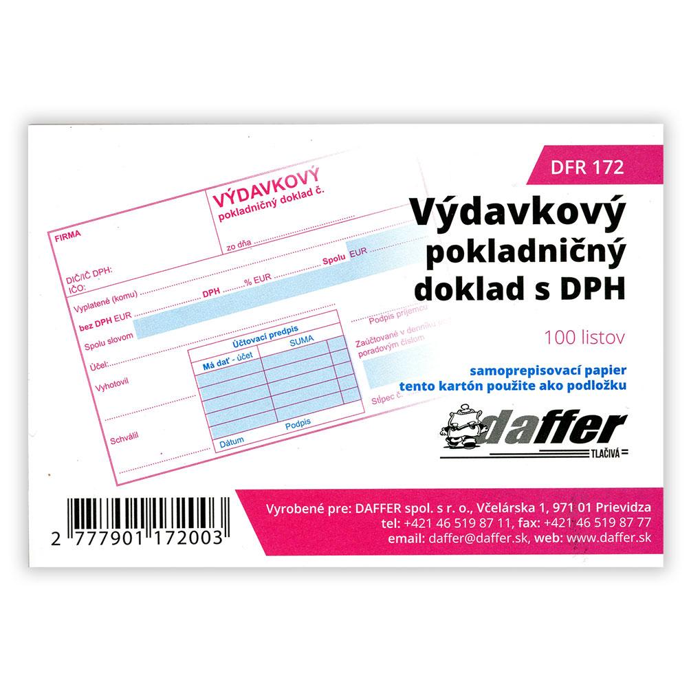 Výdavkový pokladničný doklad s DPH, samoprepis