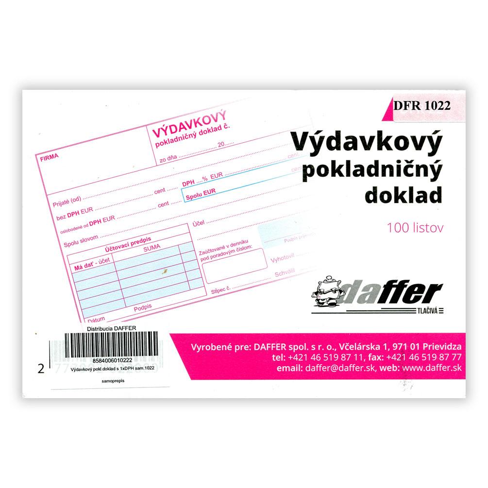 Výdavkový pokladničný doklad oslobodené od DPH + 1xDPH, samoprepis
