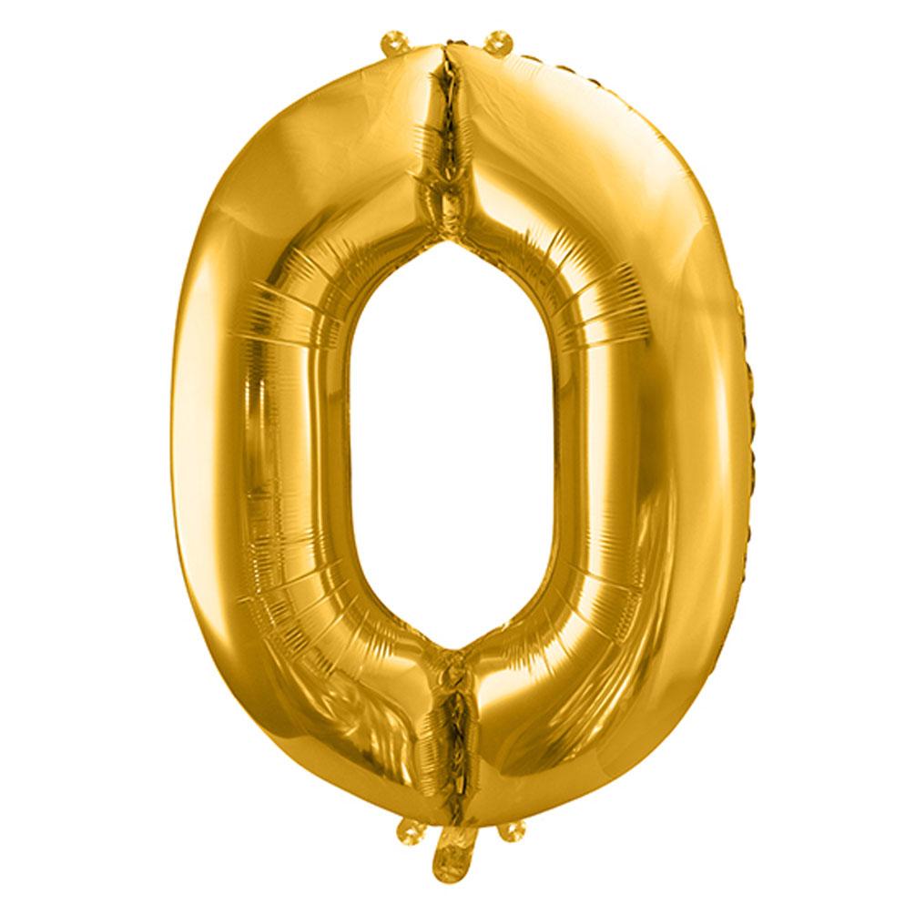 Fóliový balón číslo 0, zlatý