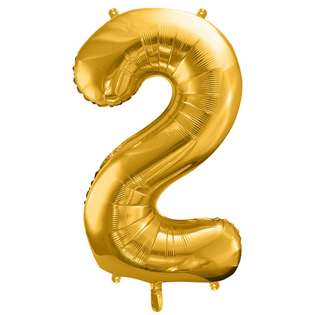 Fóliový balón číslo 2, zlatý