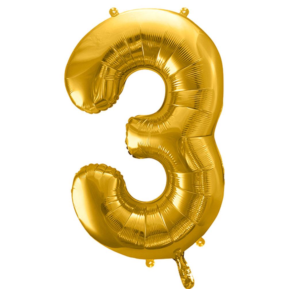 Fóliový balón číslo 3, zlatý