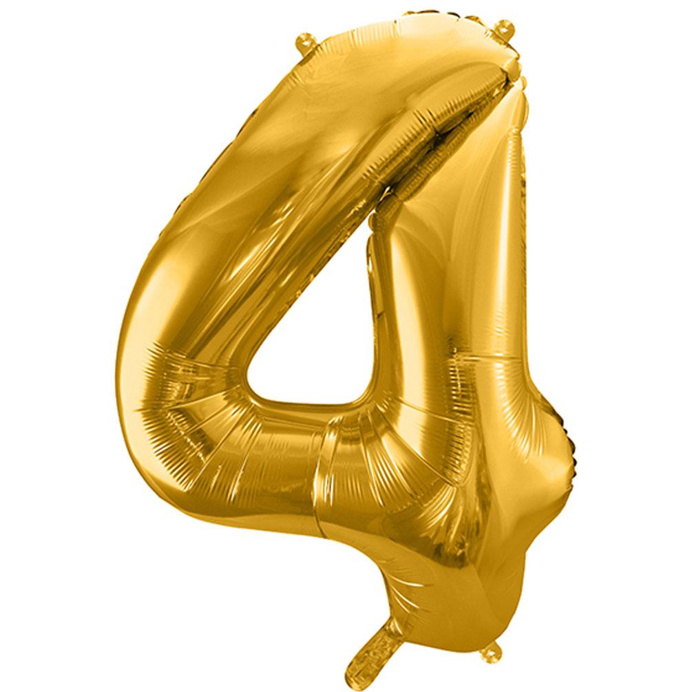 Fóliový balón číslo 4, zlatý