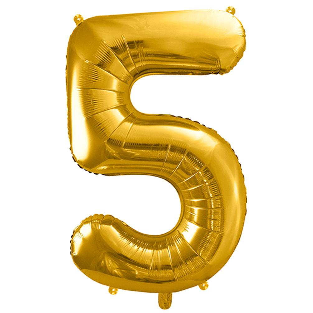 Fóliový balón číslo 5, zlatý