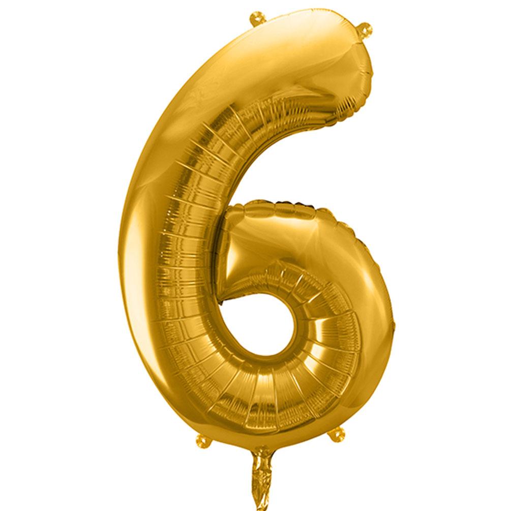 Fóliový balón číslo 6, zlatý