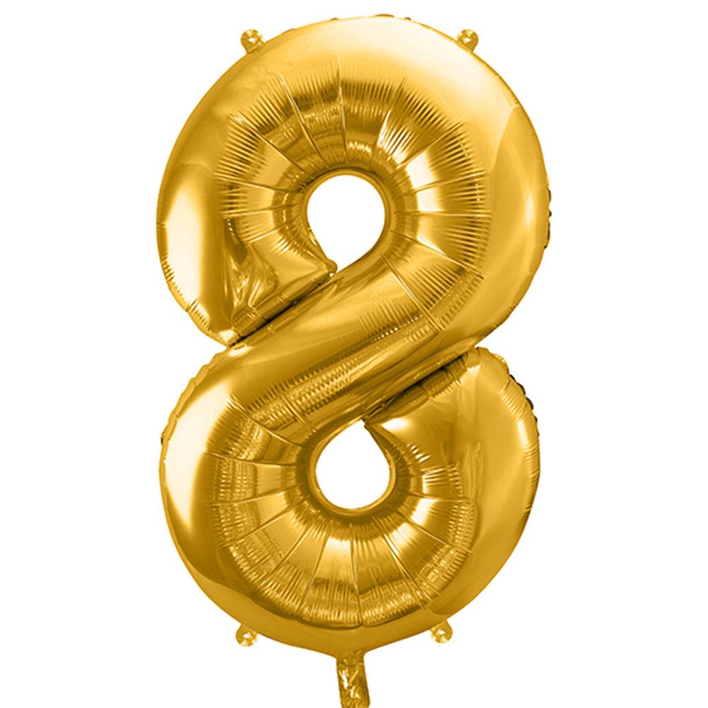 Fóliový balón číslo 8, zlatý