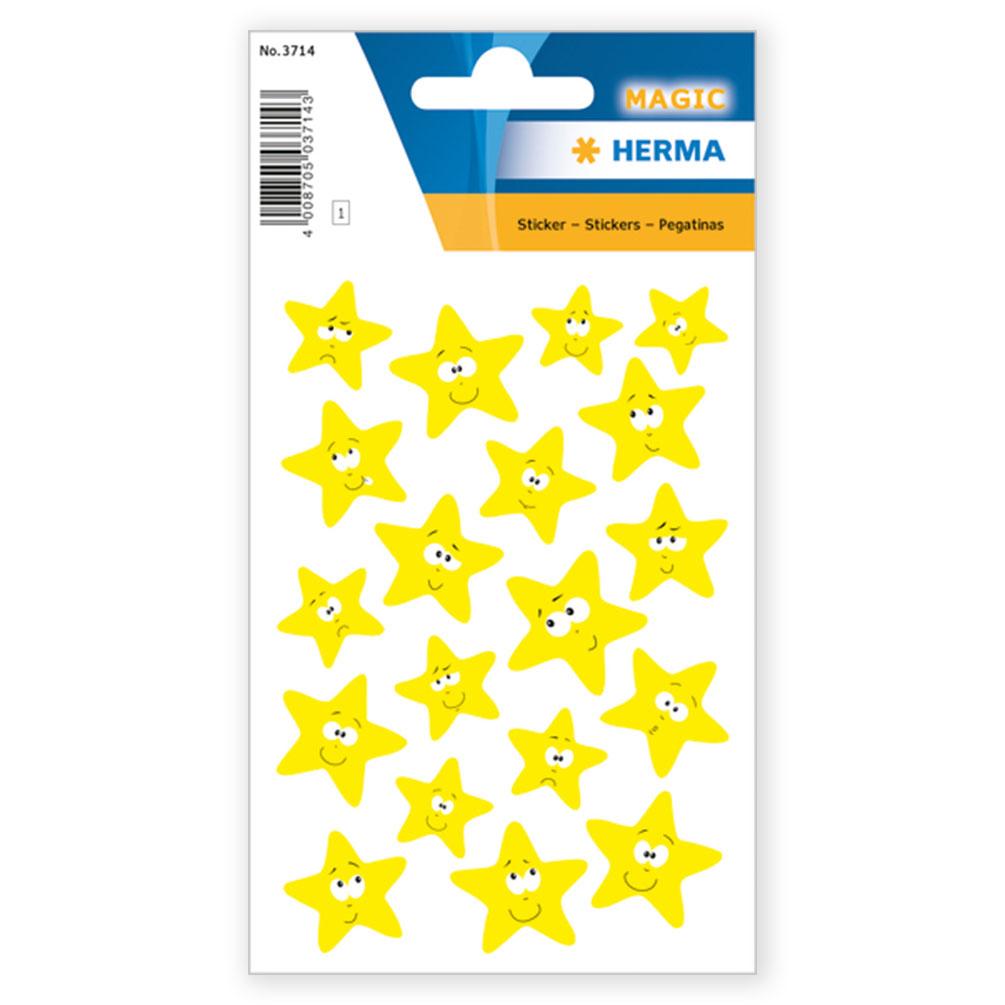 Samolepky Hviezdy žlté, neónové, 19 ks