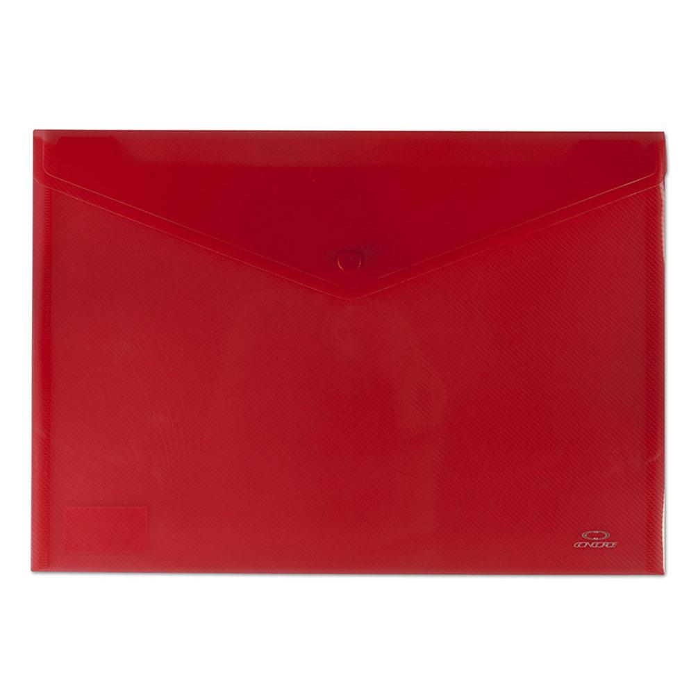 Obal A4 na dokumenty so zapínaním, červený transparentný