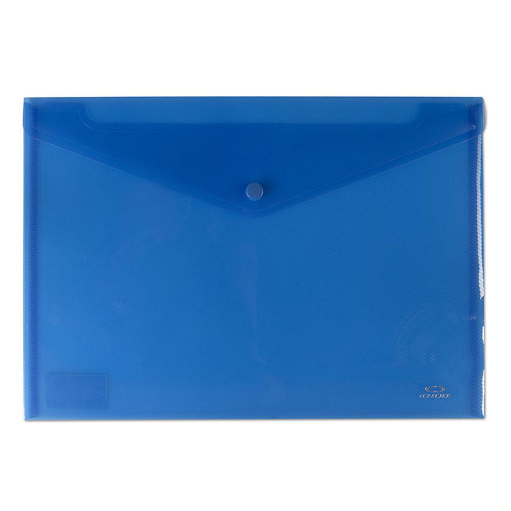 Obal A4 na dokumenty so zapínaním, modrý transparentný