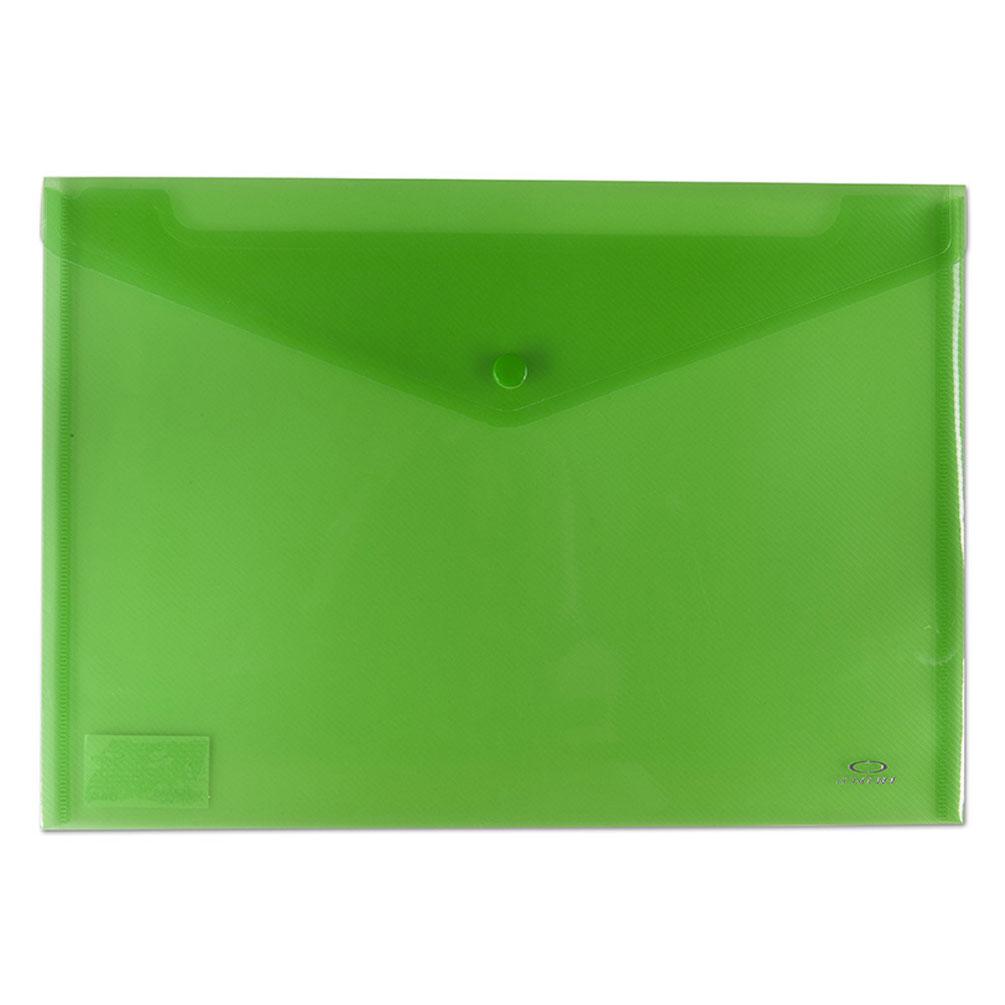Obal A4 na dokumenty so zapínaním, zelený transparentný