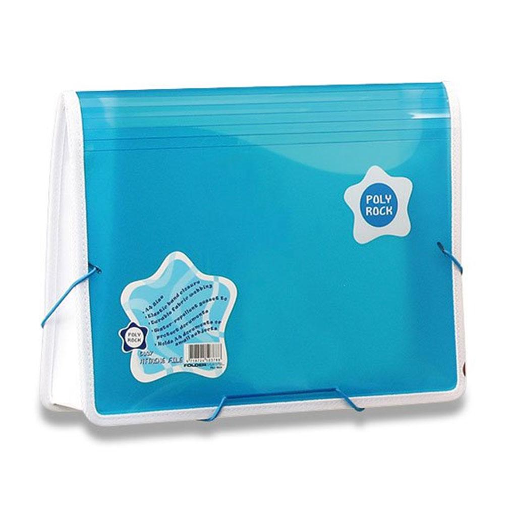 Taška na dokumenty A4 s gumou Poly Rock modrá