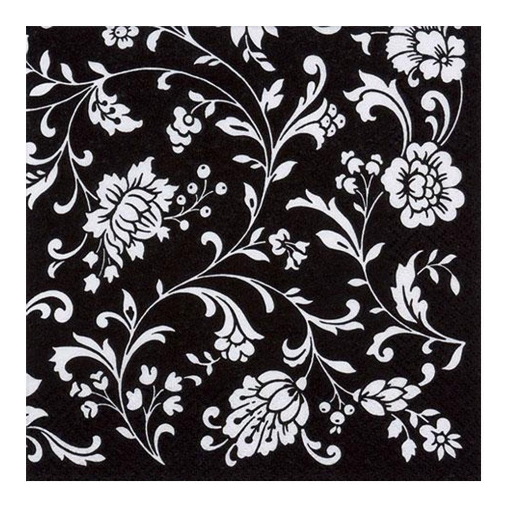 Servítky Kvety 20ks, čierno-biele