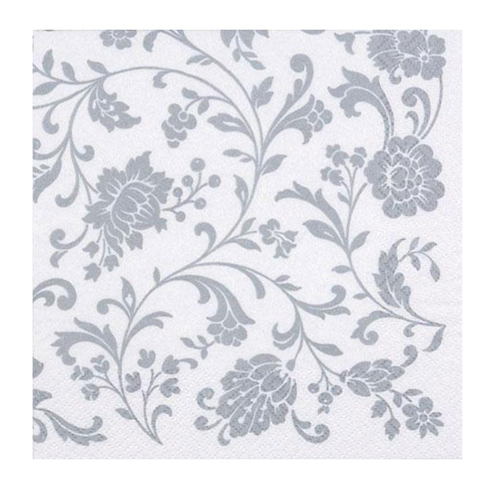 Servítky Kvety 20ks, strieborno-biele