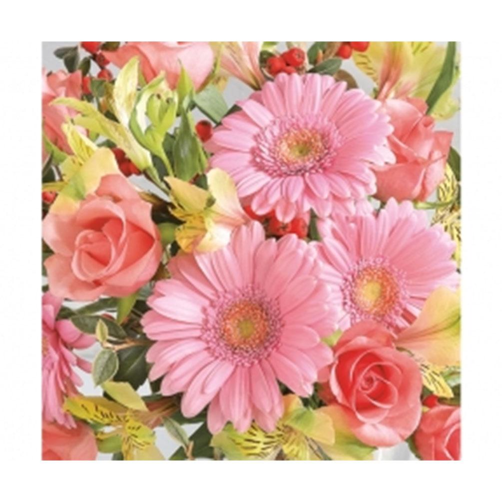 Servítky Kvety Gerbery 20ks, ružové