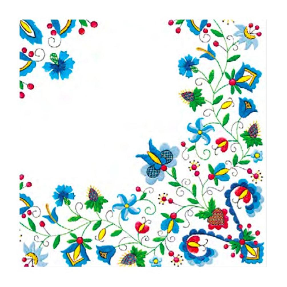 Servítky Folklór s kvetmi 20ks, biele