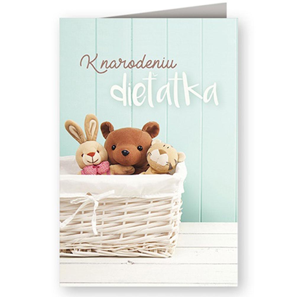 Pohľadnica ku narodeniu dieťaťa Plyšáky Nekupto