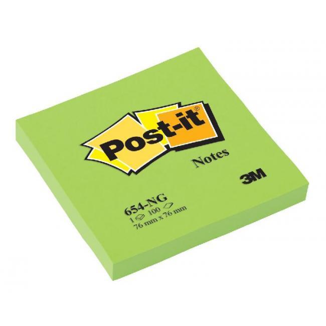 Bloček Post-it 76x76 neón zelený